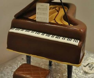 piano, chocolate, and music image