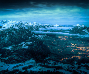 mountains, lights, and nature image