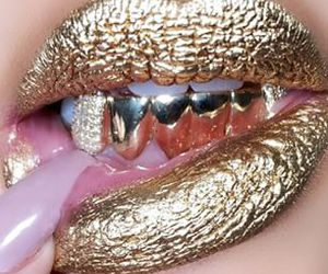 gold, lips, and nails image