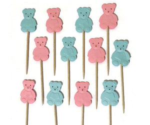 teddy bears, party supplies, and cupcake picks image