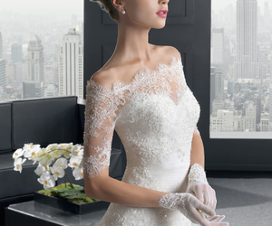 beautiful, lace, and bride image