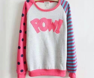pink, sweater, and pow image
