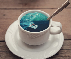 coffee, cup, and sea image