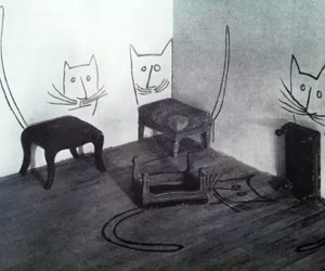 cat, art, and wall image