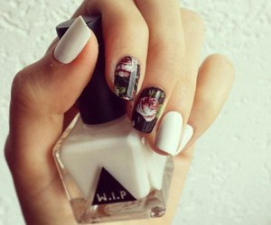 nails, white, and flowers image