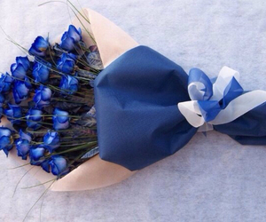 bouquet, blue roses, and flowers image