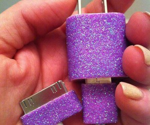 charger, glitter, and purple image