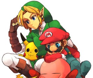 kirby, link, and mario image