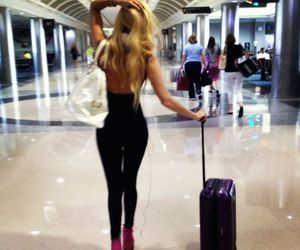 girl, blonde, and airport image