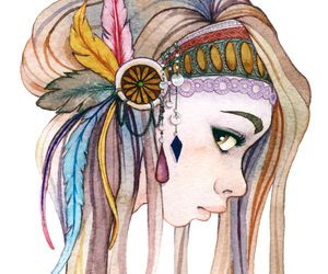 feathers, indian, and hair image