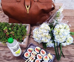 food, sushi, and flowers image