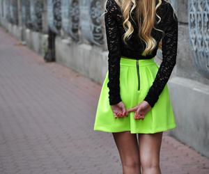 fashion, skirt, and neon image