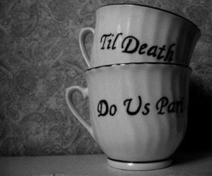 black and white, cup, and death image