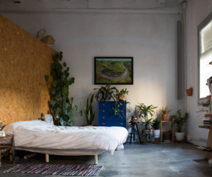 bedroom, calm, and plants image