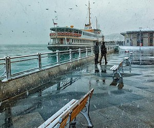 beautiful, rainy, and istanbul image