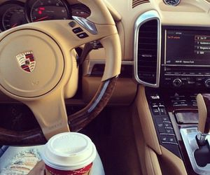 car, coffee, and starbucks image
