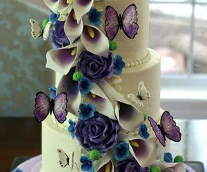 butterflies, purple, and cakes image
