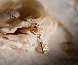 key, vintage, and rose image