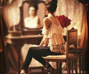 girl, mirror, and rose image