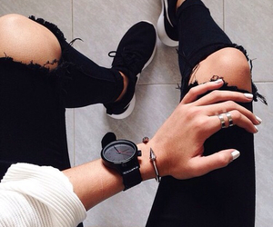 black shoes, nike, and black jeans with holes image