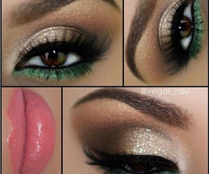 eye makeup, eyes, and lips image