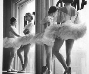 ballet, black and white, and girls image