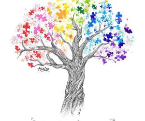 colorfull, puzzle pieces, and tree image