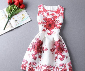 dress, red, and white image