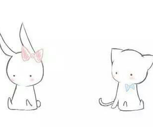cute, cat, and bunny image