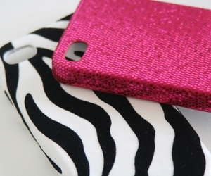 pink, iphone, and zebra image
