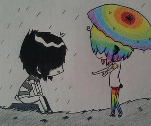 love, emo, and rainbow image
