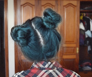 black, blue hair, and girl image