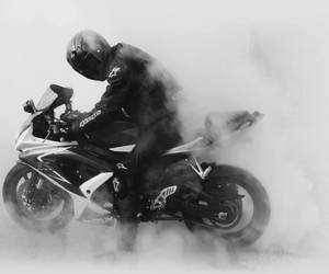 black and white, motorcycle, and ride image
