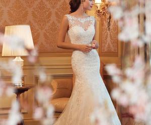 wedding dress, white, and wedding image