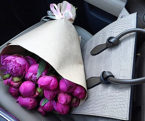 flowers, bag, and peonies image