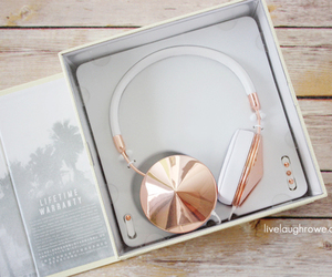 headphones, gold, and white image