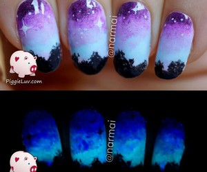 glow in the dark, nail art, and night image
