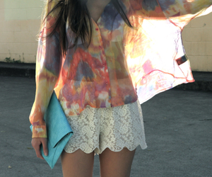 girl, blouse, and clutch image