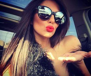 sunglasses, beauty, and kiss image
