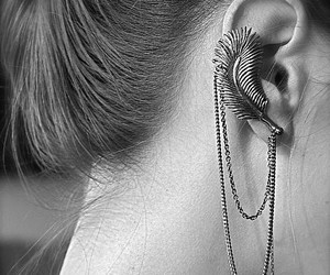 earrings, feather, and black and white image