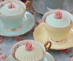 cupcake, pastel, and tea image