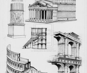 ancient, drawing, and architecture image