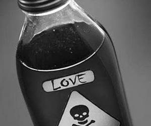 love, poison, and black and white image