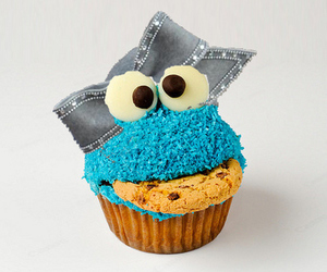 adorable, cookie monster, and cupcake image