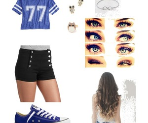 77, blue, and outfit image