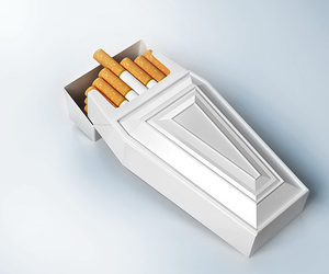cigarette, smoke, and coffin image