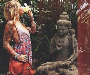 bohemian, botanical, and Buddha image