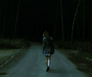 girl, alone, and dark image