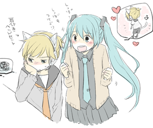 couple, hatsune miku, and kagamine len image