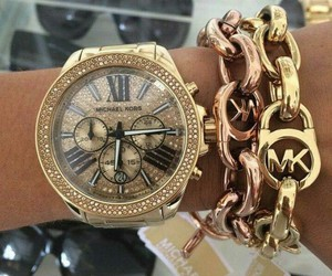 gold, Michael Kors, and watch image